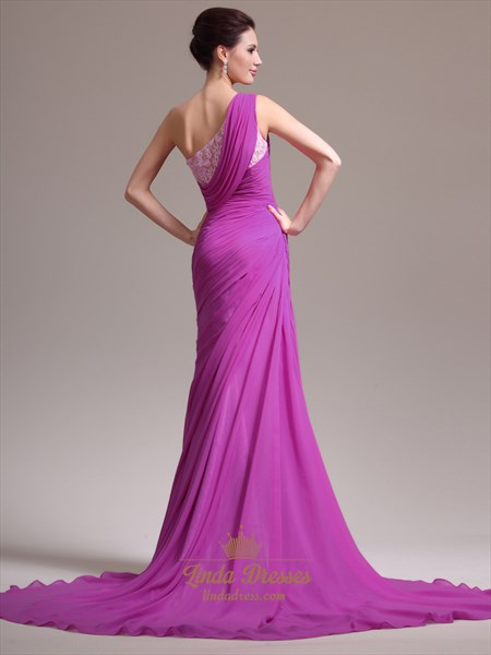 Hot Pink One Shoulder Side Slits Chiffon Prom Dress With Lace Trim