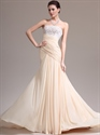 Show details for Champagne Sheath Strapless Chiffon Prom Dress With Lace Applique