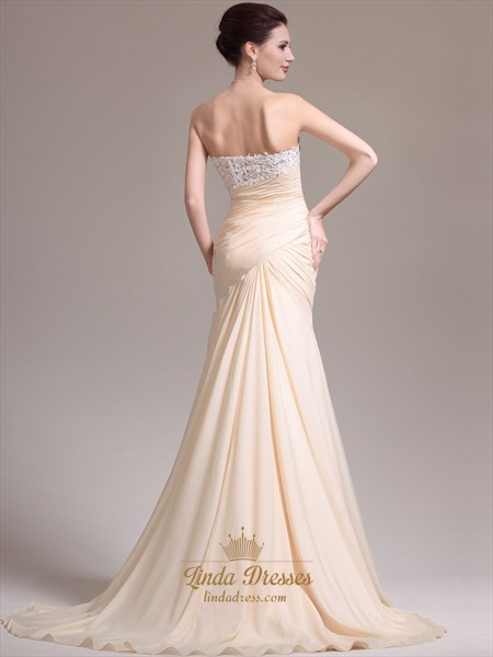 Champagne Sheath Strapless Chiffon Prom Dress With Lace Applique