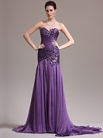 Purple Beaded Sweetheart Strapless Chiffon Prom Dress With Lace Applique