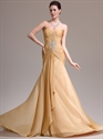Show details for Gold Sweetheart Strapless Pleated Bodice Prom Dress With Front Cascade