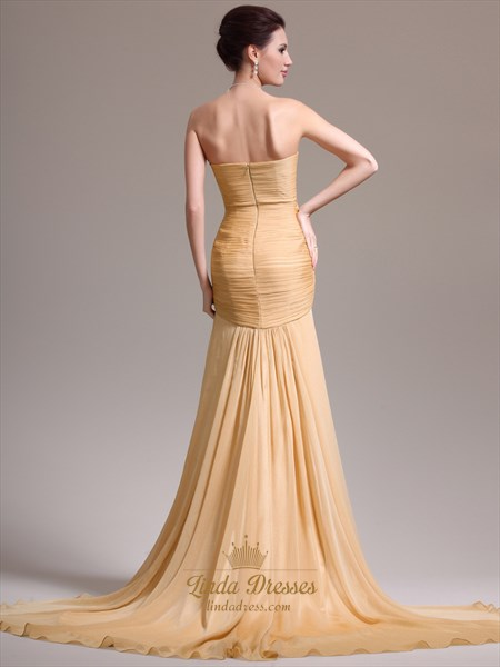 8dac29d3f45a Gold Sweetheart Strapless Pleated Bodice Prom Dress With Front Cascade