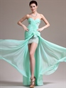 Show details for Mint Green Strapless Chiffon Split Front Prom Dress With Applique Detail