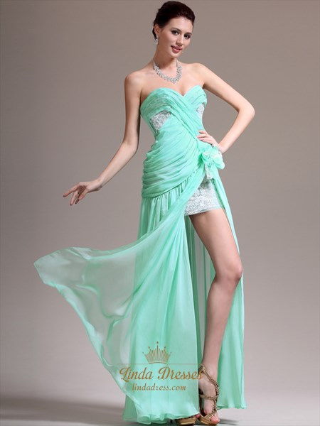 Mint Green Strapless Chiffon Split Front Prom Dress With Applique Detail