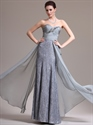 Show details for Grey Strapless Sweetheart Sheath Lace Prom Dress Chiffon Overlay