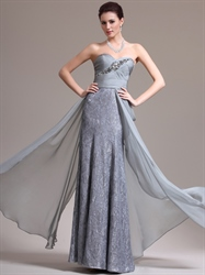 Grey Strapless Sweetheart Sheath Lace Prom Dress Chiffon Overlay