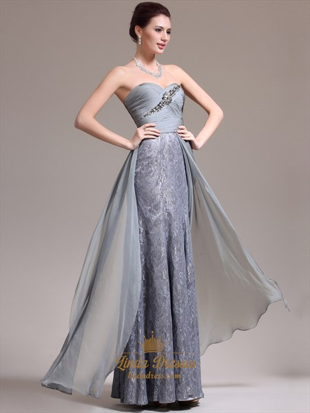 Grey Strapless Sweetheart Sheath Lace Prom Dress Chiffon Overlay