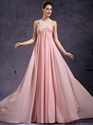 Show details for Pink Beaded Lace Applique Chiffon Prom Dress With Jewelled Neckline