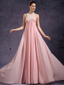 Pink Beaded Lace Applique Chiffon Prom Dress With Jewelled Neckline