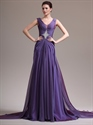 Show details for Purple A-Line V-Neck Chiffon Prom Dress With Beaded Back Detail