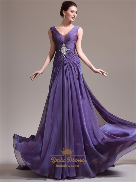 Purple A-Line V-Neck Chiffon Prom Dress With Beaded Back Detail