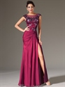 Show details for Fuchsia Chiffon Cap Sleeve Prom Gown With Beaded Lace Applique