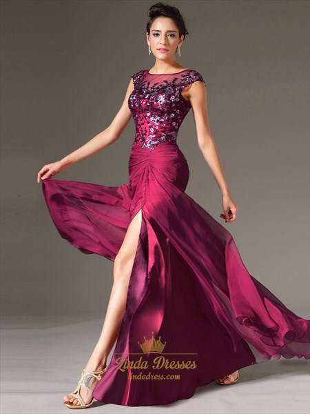 Fuchsia Chiffon Cap Sleeve Prom Gown With Beaded Lace Applique