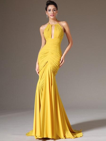 Yellow Mermaid Halter Neck Sleeveless Ruched Bodice Chiffon Prom Dress