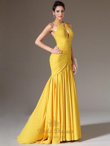 Yellow Mermaid Halter Neck Sleeveless Ruched Bodice