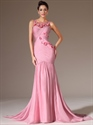 Show details for Pink Chiffon Ruched Bodice Mermaid Prom Dress With Floral Detail