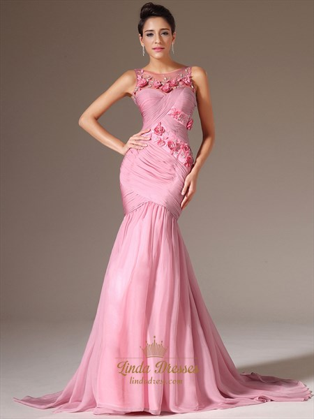 Pink Chiffon Ruched Bodice Mermaid Prom Dress With Floral Detail