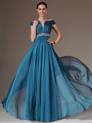 Teal Off The Shoulder Chiffon Prom Dress With Ruched Bust And Beading