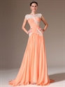 Show details for Peach Chiffon Cap Sleeve A Line Prom Dress With Beaded Lace Applique
