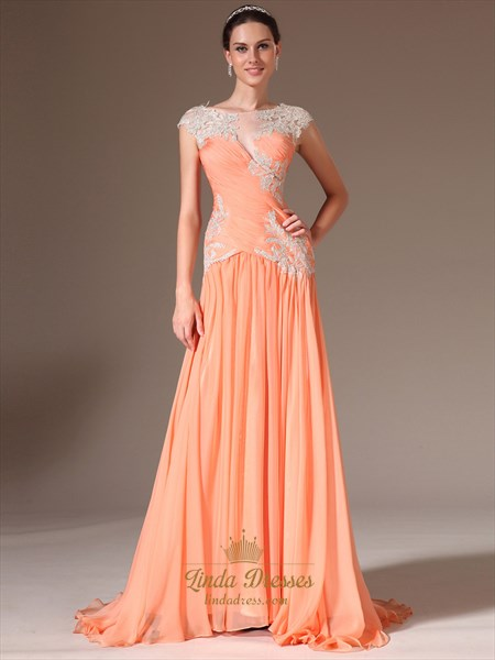 Peach Chiffon Cap Sleeve A Line Prom Dress With Beaded Lace Applique