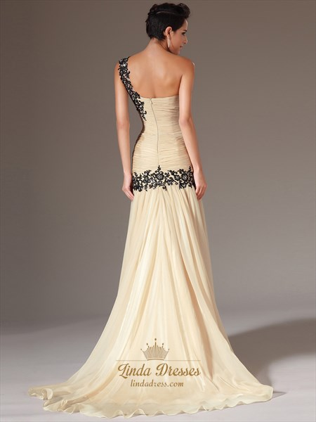 Champagne One Shoulder Sheath Chiffon Prom Dress With Cascading Detail