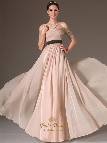 Show details for Champagne Off The Shoulder Chiffon Long Prom Dress With Pleated Bodice