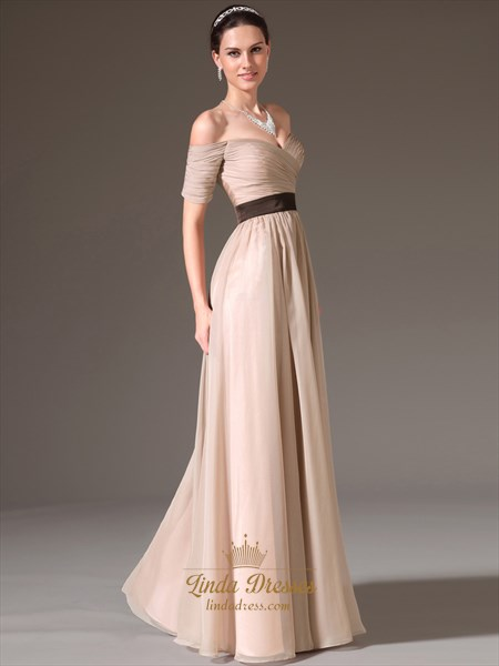 Champagne Off The Shoulder Chiffon Long Prom Dress With Pleated Bodice