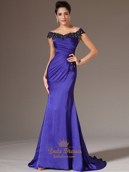Royal Blue Off The Shoulder Long Prom Dresses With Lace Applique
