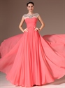 Show details for Coral Cap Sleeve Chiffon Prom Dresses With Illusion Beaded Neckline