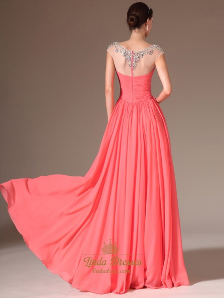 Coral Cap Sleeve Chiffon Prom Dresses With Illusion Beaded Neckline