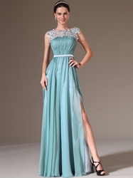 Blue Chiffon High Split A Line Prom Dresses With Beaded Lace Applique