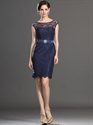 Show details for Navy Blue Lace Sheath Mother Of The Bride Dresses With Cap Sleeves