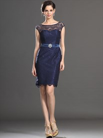 Navy Blue Lace Sheath Mother Of The Bride Dresses With Cap Sleeves