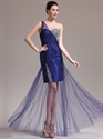 Navy Blue One Shoulder Beading Tulle Prom Dresses With Sheer Overlay