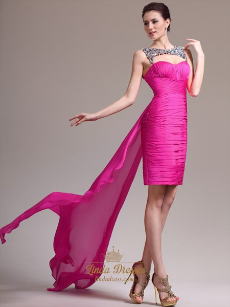 Show details for Hot Pink Strapless Ruched Cocktail Dress Short In Front Long In Back