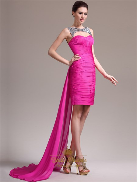 Hot Pink Strapless Ruched Cocktail Dress Short In Front Long In Back