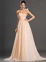 Show details for Peach One Shoulder Flower Strap Chiffon A Line Bridesmaid Dresses