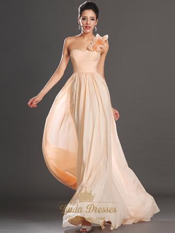 peach one shoulder flower strap chiffon a line bridesmaid dresses  linda dress