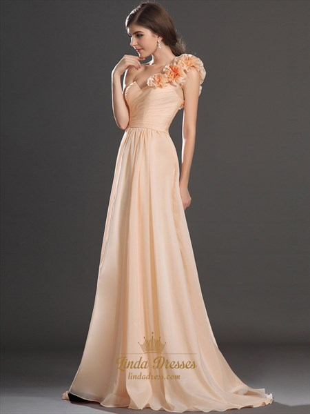 Peach One Shoulder Flower Strap Chiffon A Line Bridesmaid Dresses