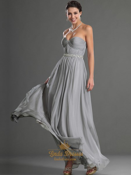 Grey Sweetheart Chiffon Bridesmaid Dresses With Beaded Waistline