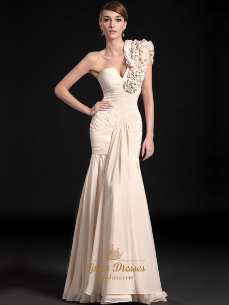 Show details for Champagne Mermaid One Shoulder Ruffle Chiffon prom Dresses