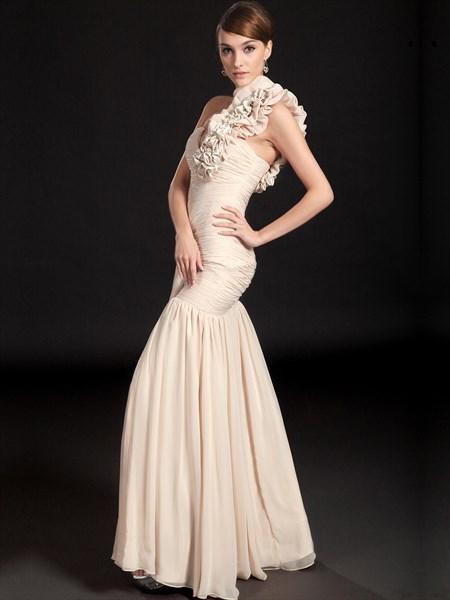 Champagne Mermaid One Shoulder Ruffle Chiffon prom Dresses