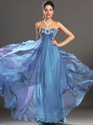 Show details for Blue Sweetheart Empire Waist Chiffon Prom Dress With Beaded Bodice
