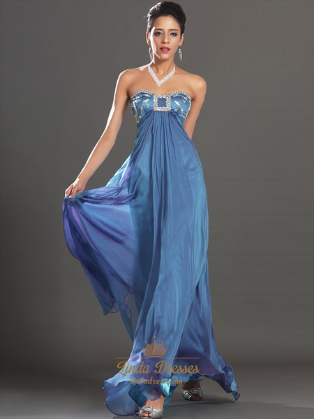 Blue Sweetheart Empire Waist Chiffon Prom Dress With Beaded Bodice
