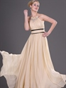 Show details for Champagne A Line Chiffon Prom Dress With Beaded Jewelled Neckline