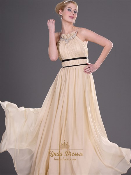 Champagne A Line Chiffon Prom Dress With Beaded Jewelled Neckline