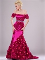 Show details for Hot Pink Mermaid Off The Shoulder Prom Dresses With Rosette Skirt