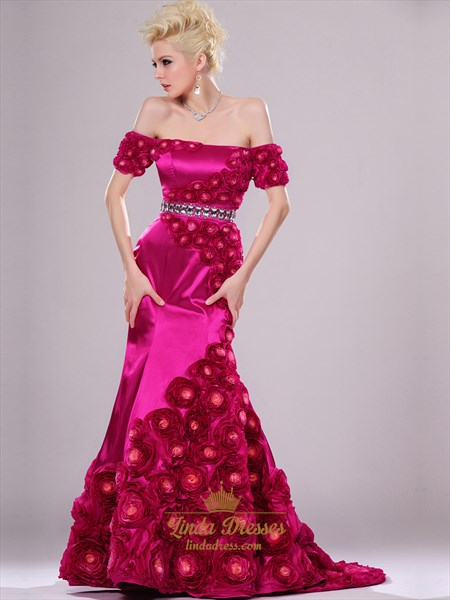 Hot Pink Mermaid Off The Shoulder Prom Dresses With Rosette Skirt