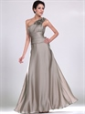 Show details for Grey Chiffon Bridesmaid Dresses With Ruched Waist And Floral Detail