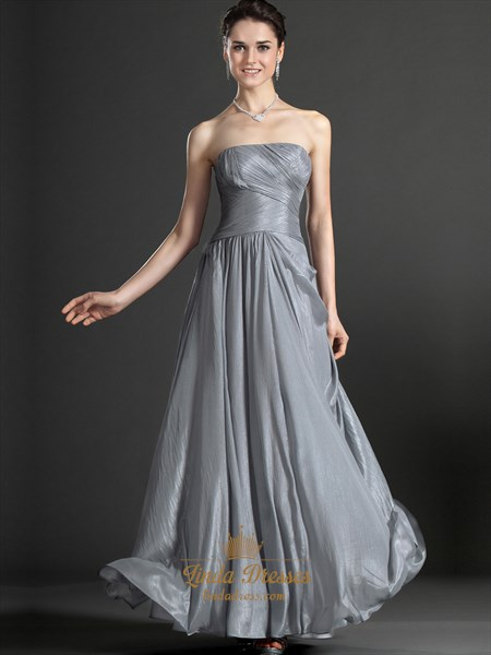 Gray Strapless Chiffon A Line Bridesmaid Dresses With Pleated Bodice